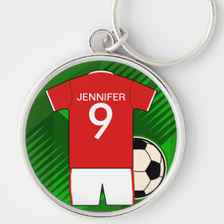 Personalized Soccer Jersey Red and White Silver-Colored Round Keychain