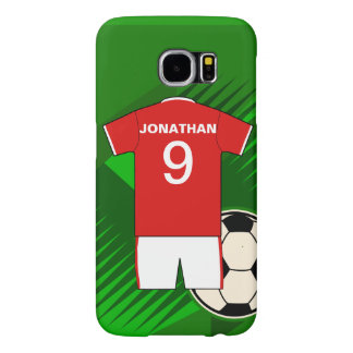 Personalized Soccer Jersey Red and White Samsung Galaxy S6 Case