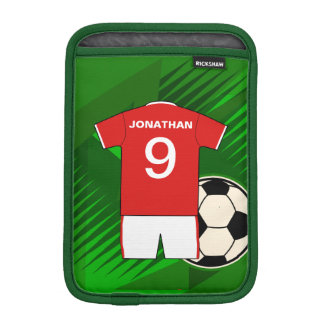 Personalized Soccer Jersey Red and White Sleeve For iPad Mini