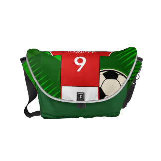 Personalized Soccer Jersey Red and White Small Messenger Bag