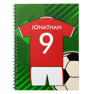 Personalized Soccer Jersey Red and White Spiral Notebook