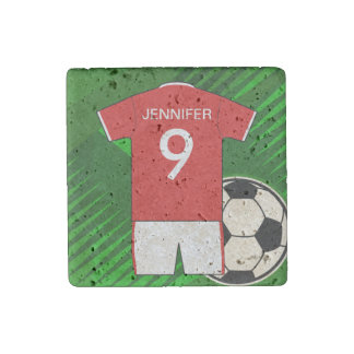 Personalized Soccer Jersey Red and White Stone Magnet