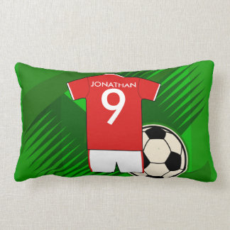 Personalized Soccer Jersey Red and White Throw Pillow