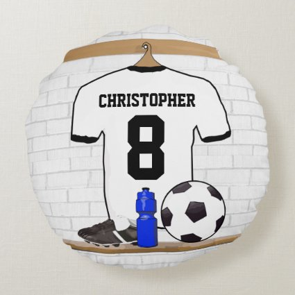 Personalized soccer jersey round pillow