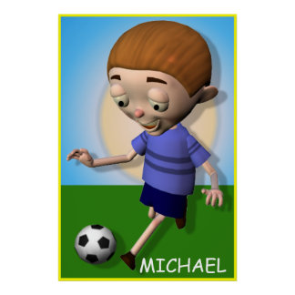 Personalized Soccer Kid Boy Poster