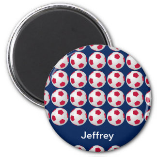 Personalized Soccer Magnet, Red White and Blue Magnet