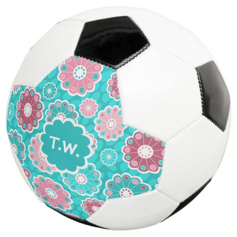 Personalized soccer name aqua pink floral soccer ball