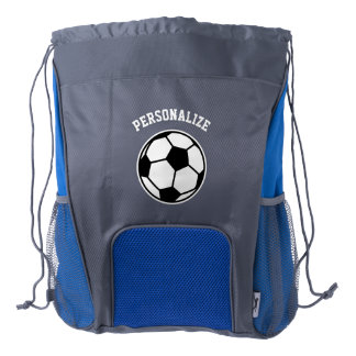 Personalized soccer player drawstring backpack
