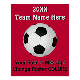 Personalized SOCCER Posters with YOUR TEXT, COLORS
