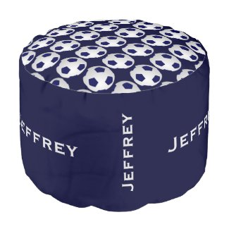 Personalized Soccer Pouf Cushion Seat Blue