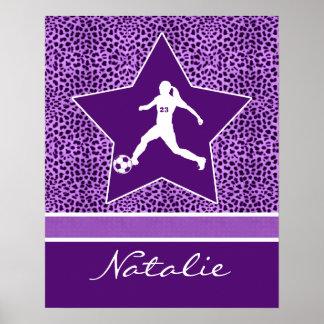 Personalized Soccer Purple Cheetah Print