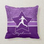 Personalized Soccer Purple Cheetah Print Throw Pillow
