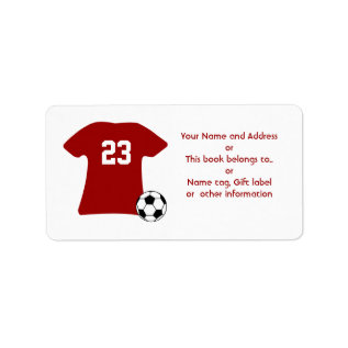 Personalized Soccer Shirt With Ball Avery Labels at Zazzle