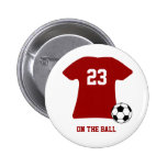 Personalized Soccer Shirt With Ball Badge Name Tag 2 Inch Round Button