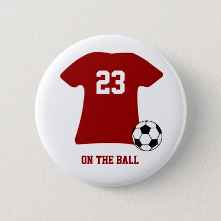 Personalized Soccer Shirt With Ball Badge Name Tag Button