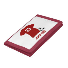 Personalized Soccer Shirt With Ball Tri-fold Wallets at Zazzle