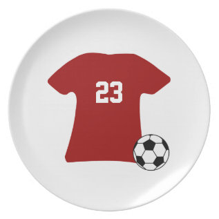 Personalized Soccer Shirt With Ball V2 Dinner Plate at Zazzle