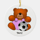 Personalized Soccer Teddy Bear Ornament