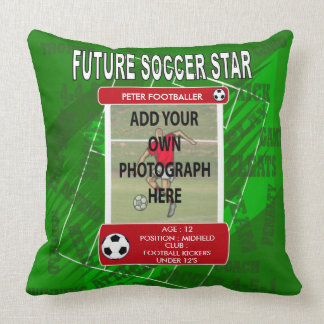 Personalized soccer trading card style throw pillow