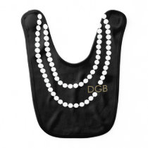 Personalized Socialite Pearl Necklace Baby Bib