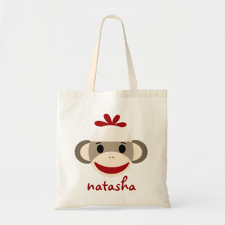 Personalized Sock Monkey Bookbag Tote Bag