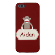 Personalized Sock Monkey Red iPhone 5 Case