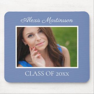 Personalized Soft Blue White Graduation Photo Mouse Pad