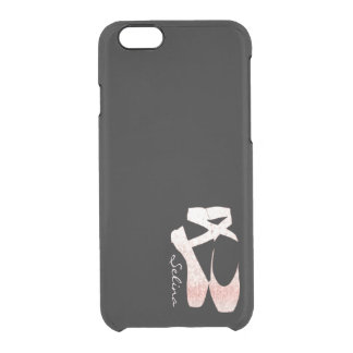 Personalized Soft Gradient Pink Ballet Shoes Clear iPhone 6/6S Case