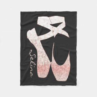 Personalized Soft Gradient Pink Ballet Shoes Fleece Blanket