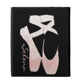 Personalized Soft Gradient Pink Ballet Shoes iPad Folio Cover