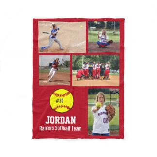 Personalized Softball 5 Photo Collage Name Team # Fleece Blanket