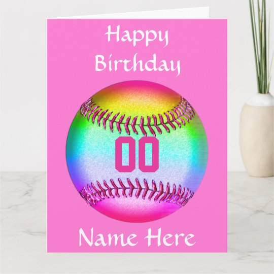 PERSONALIZED Softball Birthday Card Name Number