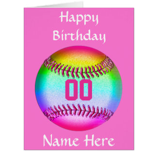 PERSONALIZED Softball Birthday Card, Name, Number Card