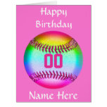 PERSONALIZED Softball Birthday Card, Name, Number Large Greeting Card