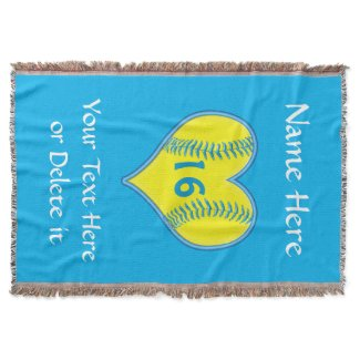 Personalized Softball Blanket with Your Text Throw