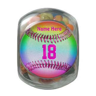 Personalized Softball Candy Jar w/ NAME and NUMBER Glass Candy Jars
