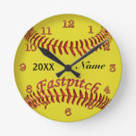 Personalized Softball Clocks Your NAME and YEAR