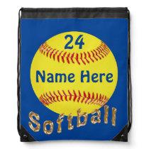 Personalized Softball Drawstring Backpack