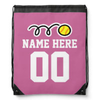Personalized softball drawstring backpack bag
