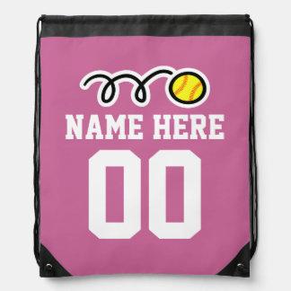 Personalized softball drawstring backpack bag
