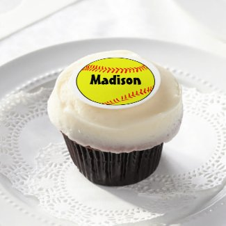 Personalized Softball Edible Frosting Round
