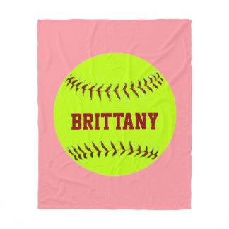 Personalized Softball Fleece Blanket