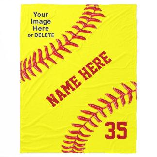 Personalized Softball Fleece Blanket, Text, Photo