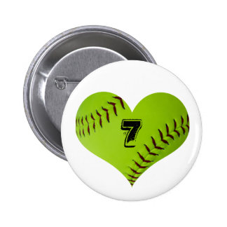 Personalized softball heart button