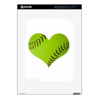 Personalized softball heart iPad 3 skins