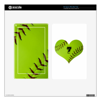 Personalized softball heart kindle fire decals