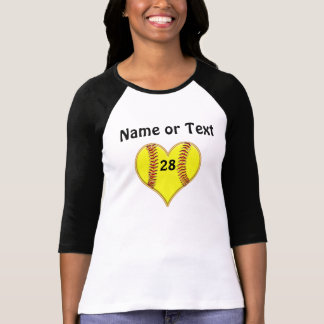 Personalized Softball Heart Shirt for Girls