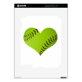 Personalized softball heart decals for iPad 2