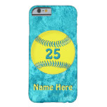 PERSONALIZED Softball iPhone 6 Cases Turquoise Barely There iPhone 6 Case