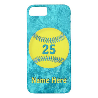 PERSONALIZED Softball iPhone 7 Cases Turquoise